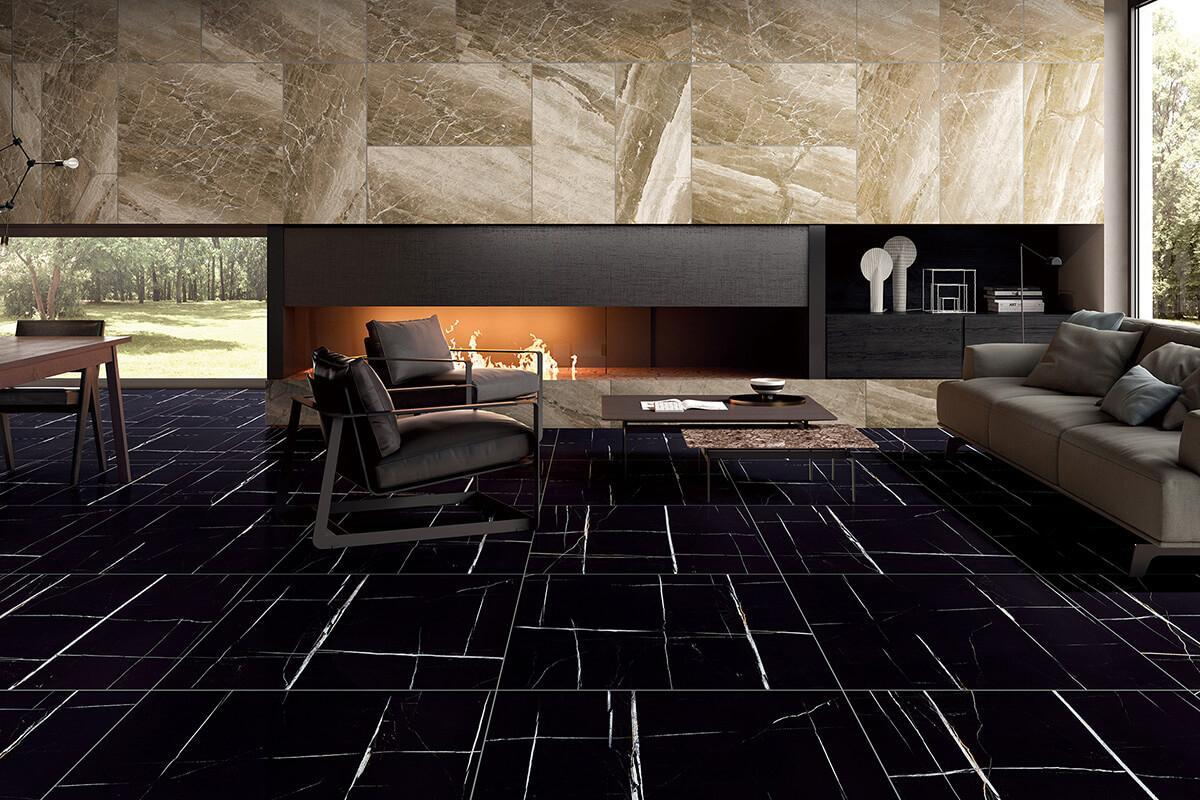 Laurent Black Marble Tile Ceramic Imitation Marble Tile