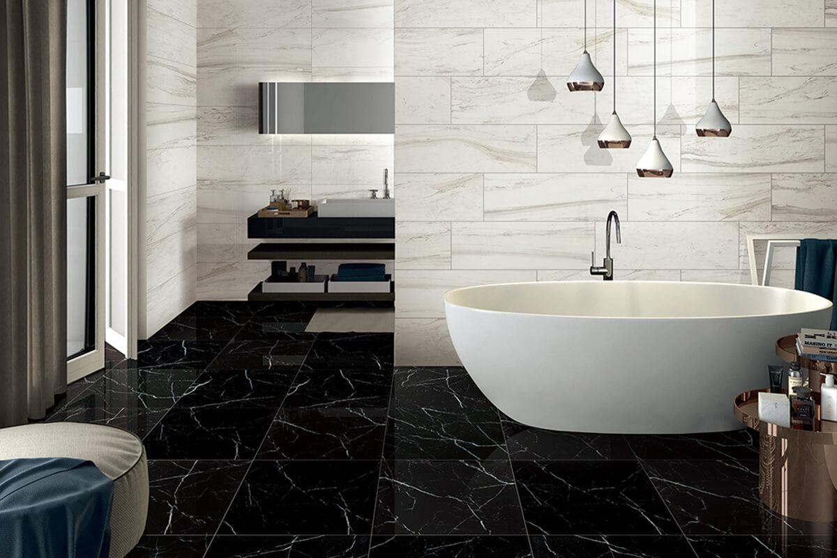 Nero Marquina Marble Tile Ceramic Imitation Marble Tile