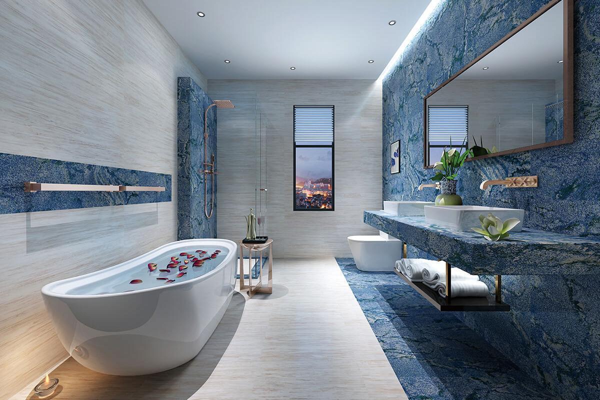 Azul Bahia Marble Tile | Ceramic Imitation Marble Tile | GANI Tile
