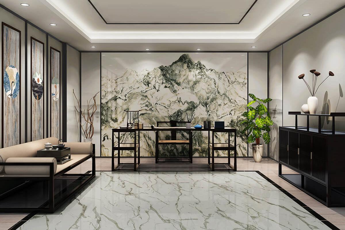 Marble Floor Mural : New landscape painting marble wall tile gani